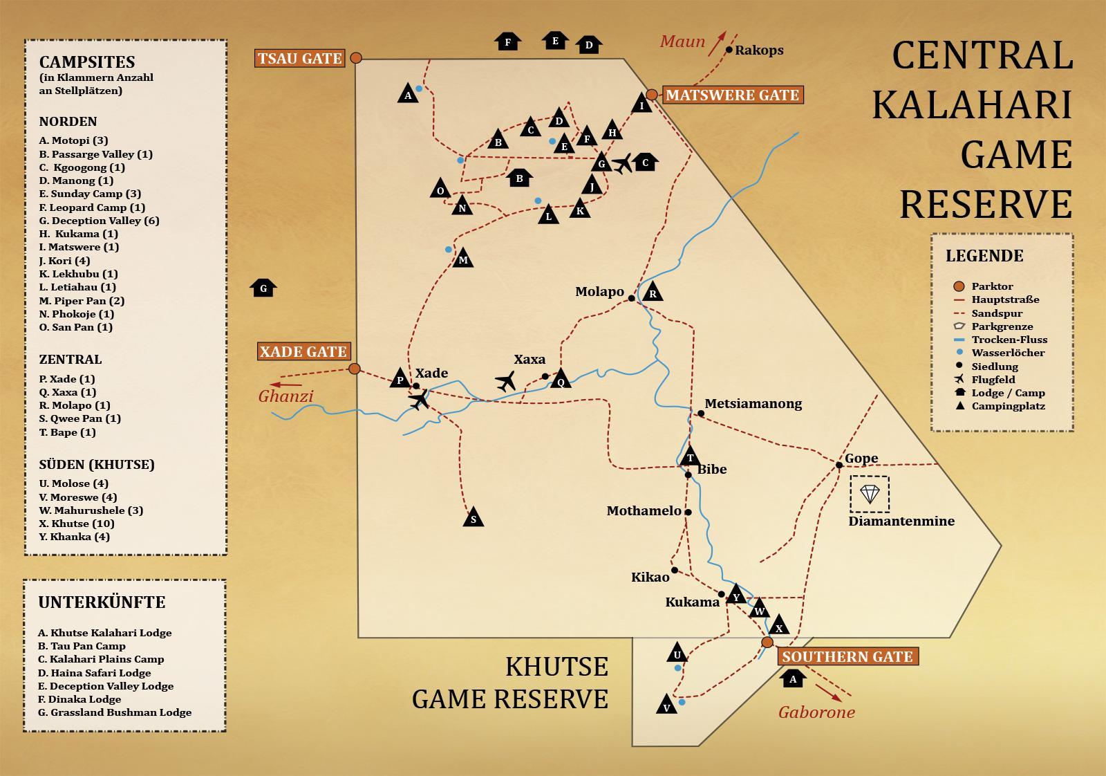 central kalahari game reserve campsites map